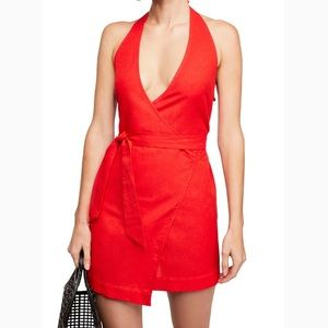 Free People Red Fine Lines Wrap Dress
